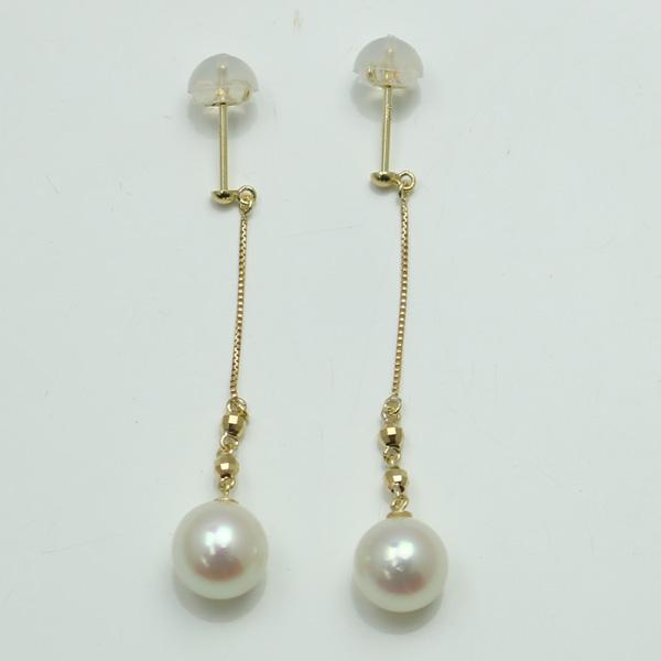 真珠 パール ピアス あこや真珠 パールピアス ロング デザイン 7mm-7.5mm ホワイトピンクカラー k18 18k アコヤ本真珠