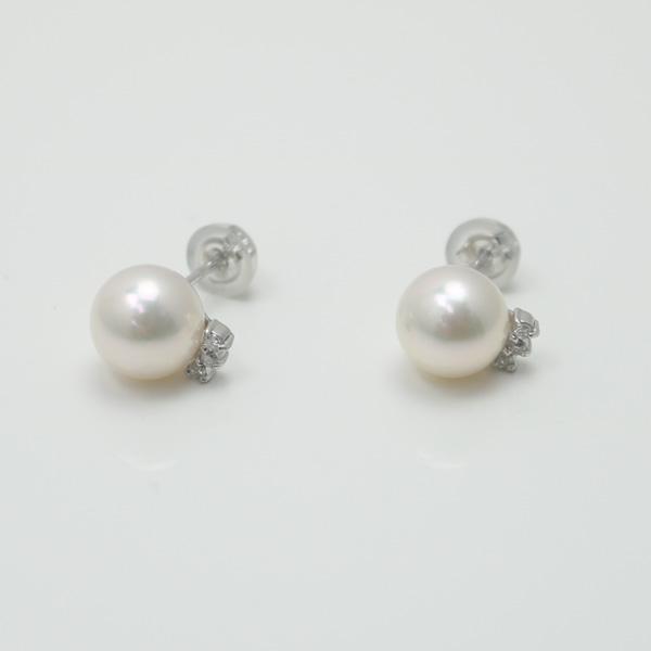 真珠 パール ピアス あこや真珠 パール ピアス 8mm-8.5mm ホワイトピンクカラー K14WG ダイヤ デザイン スタッド アコヤ本真珠 カジュアル