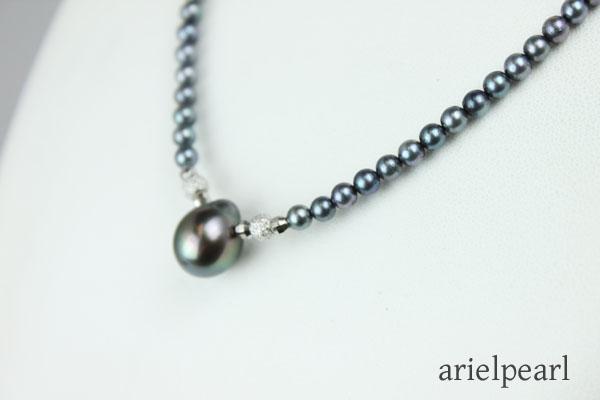 真珠 パール ネックレス あこや真珠 黒蝶真珠 ネックレス 黒真珠 3.5mm-4mm 10mm-11mm デザイン