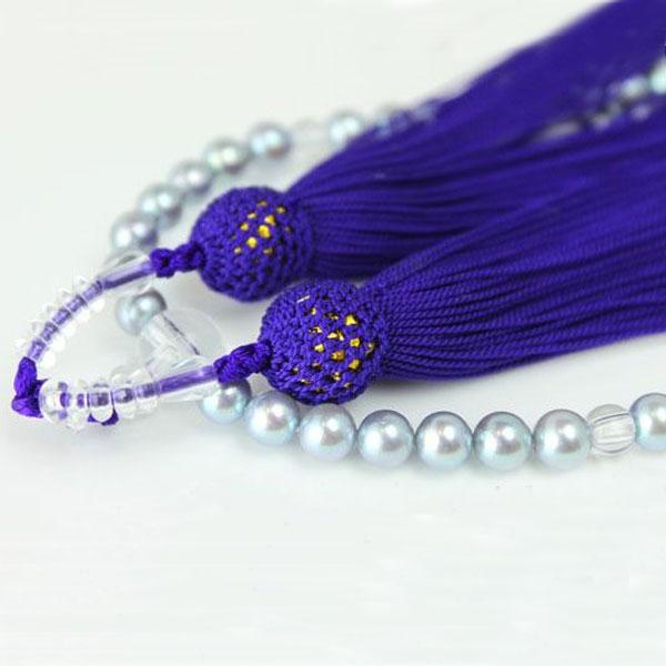真珠 数珠 パール 念珠 あこや本真珠 数珠 アコヤ真珠 6mm-6.5mm グレーカラー 正絹 紫房