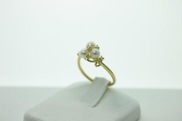真珠パール指輪リングあこや真珠パール指輪リングデザイン4mm-4.5mm3PCSベビーパールホワイトピンクカラーK18アコヤ本真珠ダイヤ