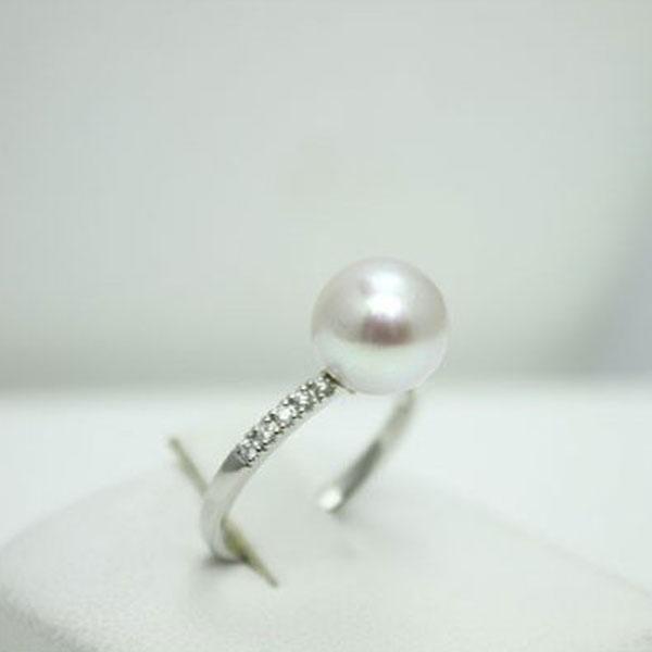 真珠 指輪 パール リング あこや真珠 パール 指輪 リング アコヤ真珠 9mm-9.5mm ナチュラルグレーカラー 真多麻 鑑別書付き 真珠科学研究所