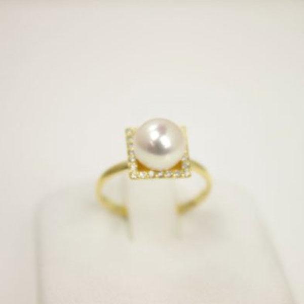 真珠 指輪 パール リング あこや真珠 パール 指輪 リング アコヤ本真珠 7.5m-8m ホワイトカラー K18 ダイヤ