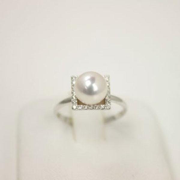 真珠 指輪 パール リング あこや真珠 パール 指輪 リング アコヤ本真珠 7.5mm-8mm ホワイトカラー K18WGダイヤ