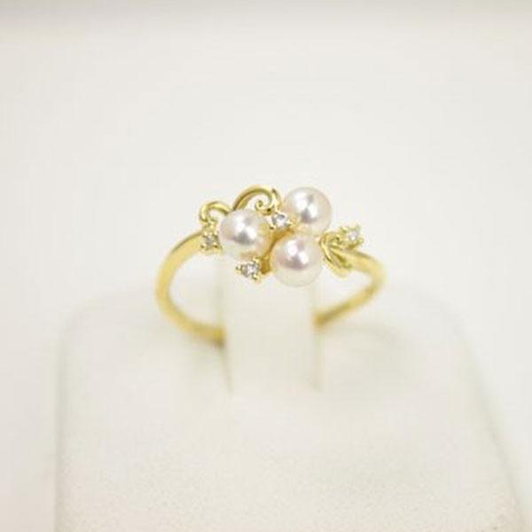 真珠 指輪 パール リング あこや真珠 パール 指輪 リング アコヤ本真珠 4mm-4.5mm ベビーパール ホワイトカラー K18ダイヤ