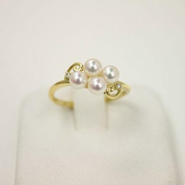 真珠 指輪 パール リング あこや真珠パール 指輪 リング アコヤ本真珠 4mm-4.5mm ベビーパール ホワイトカラー K18 ダイヤ