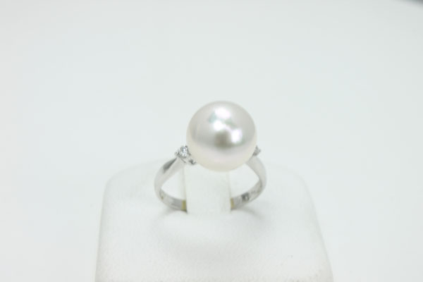 Pearl rings Pearl, Akoya pearl Pearl rings ring Akoya pearl oversized 10.5 mm-11 mm white greapinkcolor Platinum Diamond