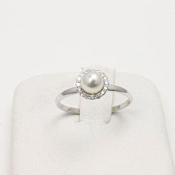 真珠 指輪 パール リング あこや真珠 パール 指輪 リング アコヤ真珠 ホワイトカラー K18WG ダイヤ