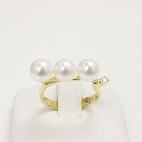 真珠 指輪 パール リング あこや真珠 パール 指輪 リング アコヤ真珠 6.5mm-7mm ホワイトカラー デザイン 冠婚葬祭 フォーマル あこや本真珠