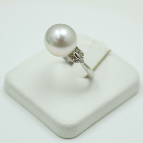 真珠 パール リング 指輪 白蝶真珠 南洋真珠 11.1mmダイヤ0.20ctK18WG リング指輪 デザイン ホワイトブルーグリーンカラー