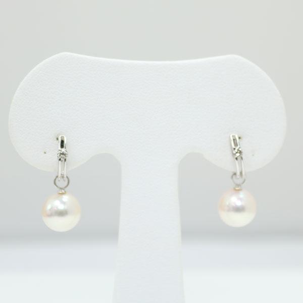 真珠 パール イヤリング あこや真珠 イヤリング アコヤ真珠 8.5mm-9mm ホワイトピンクカラー デザイン ダイヤ 2ウエイ