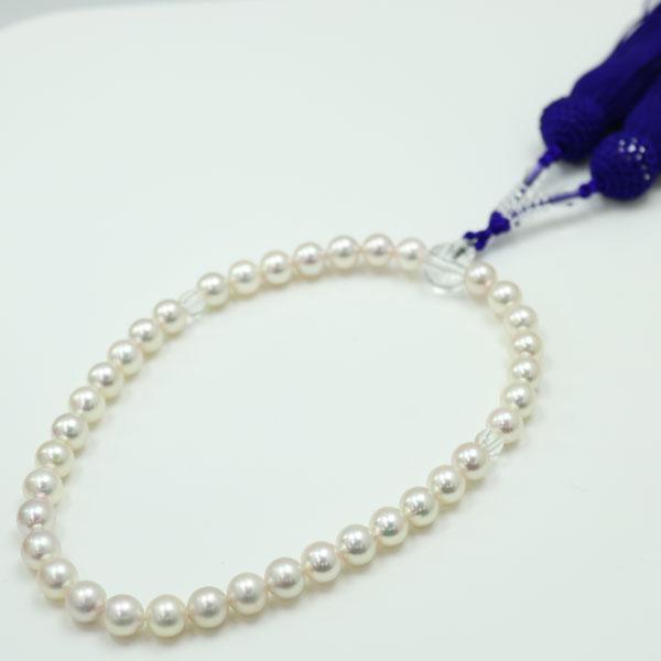 真珠 パール 数珠 あこや真珠 数珠 アコヤ真珠 7mm-7.5mm 正絹 紫房 ホワイトピンクカラー 冠婚葬祭葬儀 あこや真珠数珠が送料無料