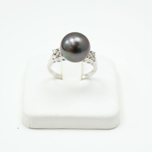 真珠 パール 指輪 リング 黒蝶真珠 パール リング 指輪 黒真珠 11mm-12mm プラチナ ダイヤ デザイン ブラックパール ブラックカラー