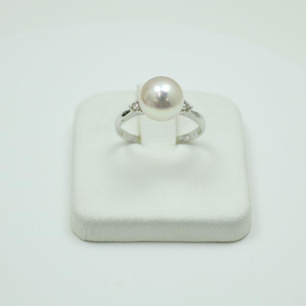 真珠パールリング ダイヤ 0.08ct プラチナリング ホワイトピンクカラー 花珠鑑別書 デザイン