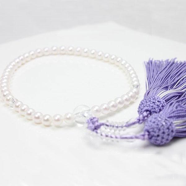 真珠 パール 数珠 アコヤ真珠 パール 数珠 念珠 5.5-6ミリ 新色紫房 パール 真珠 ムーンストーン あこや真珠