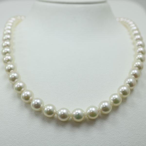 真珠 パール ネックレス セット あこや真珠 パールネックレス 7.5mm-8mm イヤリングかピアス 2点セット ホワイトパール ホワイトカラー シルバー アコヤ本真珠 冠婚葬祭 フォーマル