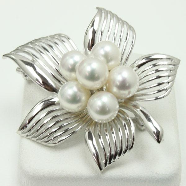 真珠 パール ブローチ あこや真珠 ブローチ アコヤ真珠 デザイン ホワイトピンクカラー 6pcs 卒業式 入学式