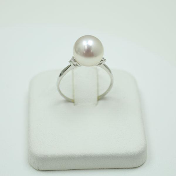 真珠 指輪 パール リング あこや真珠 指輪9.5-10mm ホワイトピンクカラー デザイン