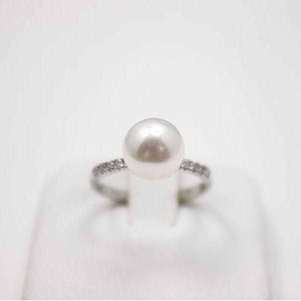 真珠 パール リング 指輪 あこや真珠 指輪 リング 9mm-9.5mm アコヤ本真珠 ホワイトグリーン~ピンクカラー デザイン オーロラ 花珠鑑別書 真珠科学研究所 プラチナ ダイヤ