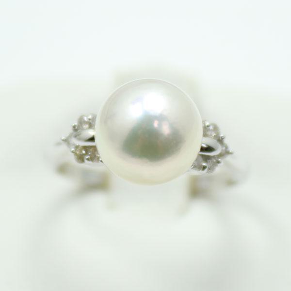 真珠 パール リング 指輪 あこや真珠 パール 指輪 リング 9mm-9.5mm アコヤ本真珠 ホワイトピンクカラー デザイン ダイヤ プラチナ フォーマル 冠婚葬祭
