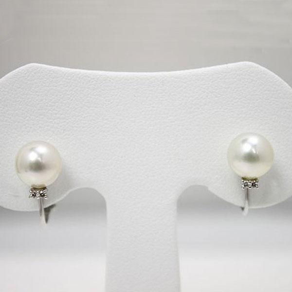 真珠 パール イヤリング あこや真珠 パール イヤリング スタッド デザイン ダイヤモンド K18WG 8mm-8.5mm