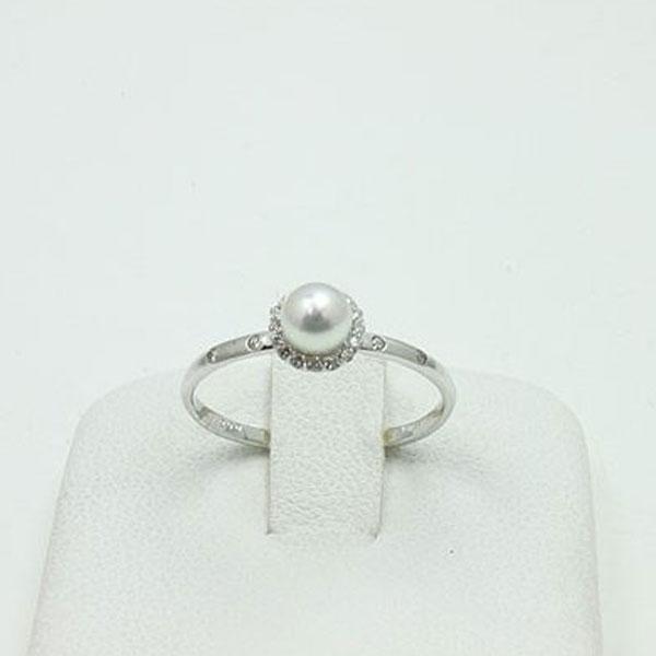 真珠 指輪 パール リング あこや真珠 パール 指輪 リング アコヤ真珠 4.5-5mm ホワイトカラー デザイン ダイヤ
