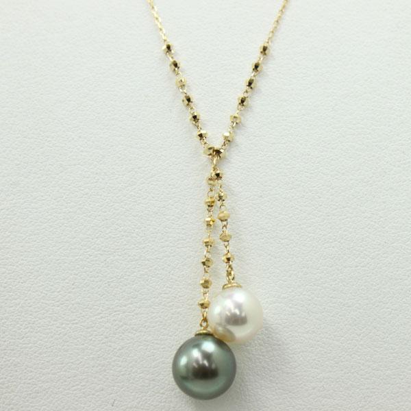 真珠 パール ネックレス あこや真珠 パールネックレス 黒蝶真珠 ツインカラー ロング デザイン 45cm K18 K18WG アコヤ本真珠 カジュアル