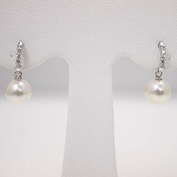 真珠 パール ピアス あこや真珠 パール ピアス ロング デザイン ダイヤモンド K14WG 7.5mm-8mm 揺れる