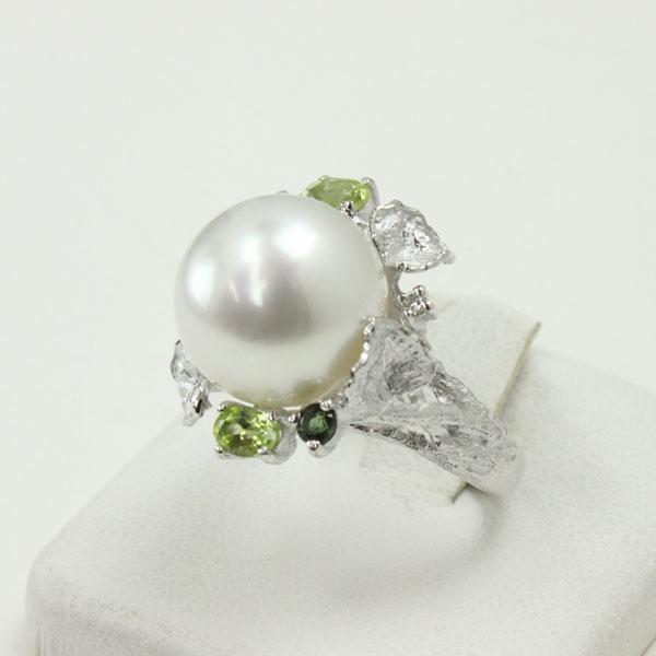 真珠 指輪 パール リング 南洋白蝶真珠 指輪 リング 13mm-14mm ホワイトカラー デザイン K18WG ダイヤ ゴージャス