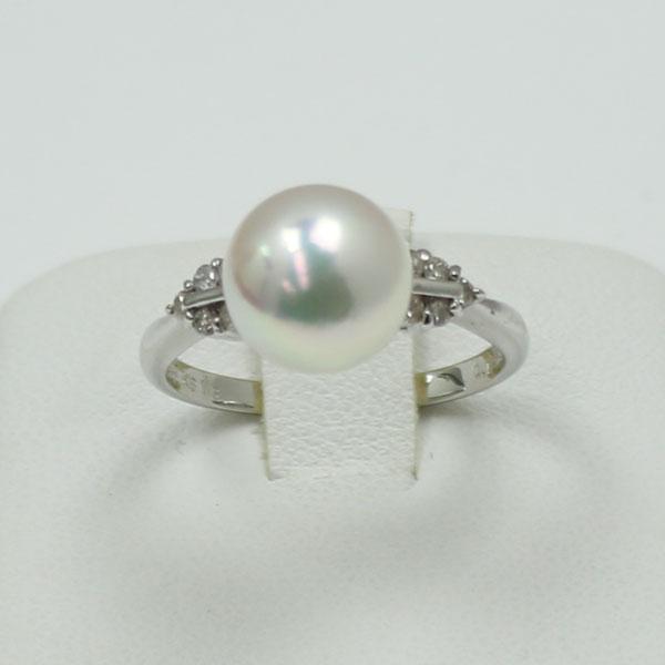 真珠 パール 指輪 リング あこや真珠 アコヤ真珠 9mm-9.5mm 花珠鑑別書付き ダイヤ K18WG パール リング 指輪 あこや本真珠 ホワイトピンクカラー デザイン