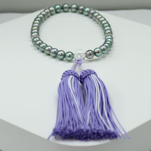 真珠 数珠 パール 念珠 あこや真珠 数珠 7.5mm-8mm 紫房 グレーブルーカラー ブラックパール 黒真珠 アコヤ本真珠 冠婚葬祭 葬儀