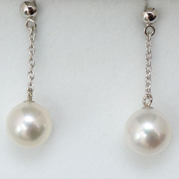 真珠 パール ピアス あこや真珠 パールピアス 7.5mm-8mm ホワイトグリーンピンクカラー ホワイトゴールド 揺れる ロング