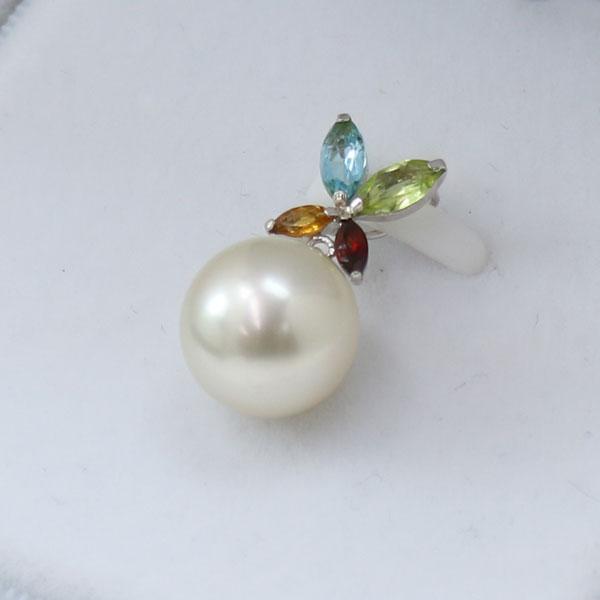 真珠 パール ペンダント 南洋白蝶真珠 パール ペンダント 11mm ホワイトカラー 半貴石 デザイン カジュアル