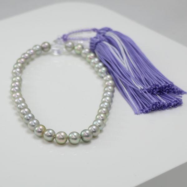 真珠 数珠 パール 念珠 あこや真珠 数珠 7mm-7.5mm ブルーグレーカラー 新色紫房 アコヤ本真珠 冠婚葬祭 葬儀法事