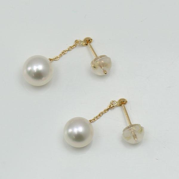 真珠 パール ロング ピアス あこや真珠 7mm-7.5mm ホワイトカラー K18 ロング パール ピアス アコヤ本真珠 揺れる カジュアル