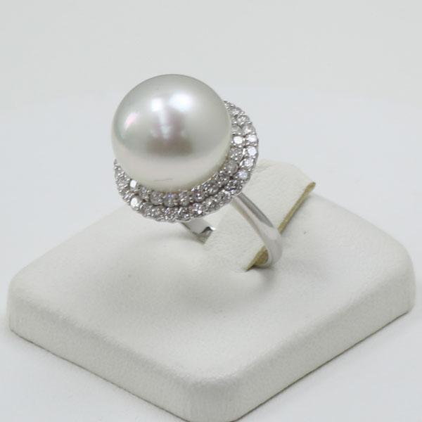 真珠 指輪 パール リング 南洋白蝶真珠 指輪 リング 14mm-15mm ホワイトカラー デザイン プラチナ ダイヤ 1.00カラット ゴージャス 豪華 パーティー