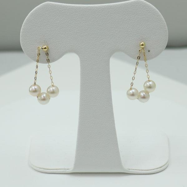真珠 パール ピアス あこや真珠 パール ピアス ロング デザイン チャーム フープ K18 5mm-5.5mm 揺れる 2ウエイ アコヤ本真珠