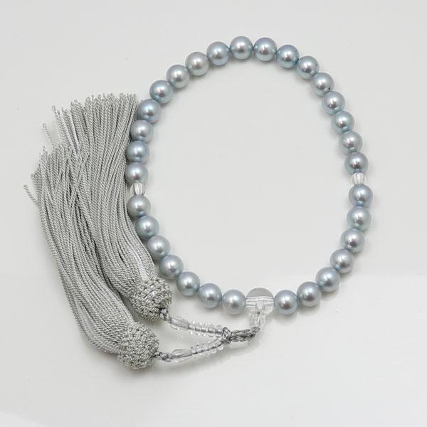 真珠 数珠 パール 念珠 あこや真珠 数珠 8.5mm-9mm グレーカラー 人絹 グレー房 アコヤ本真珠 冠婚葬祭 葬儀