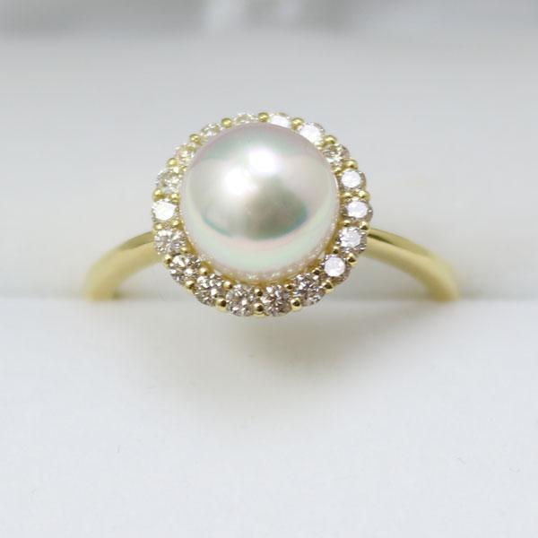 真珠 指輪 パール リング あこや真珠 パール 指輪 リング アコヤ真珠 8mm-8.5mm ホワイトカラー デザイン 冠婚葬祭 フォーマル あこや本真珠 K18 ダイヤ