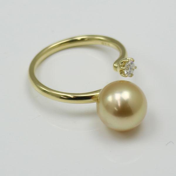 真珠 指輪 パール リング 南洋白蝶真珠 指輪 リング 9mm-10mm ナチュラルゴールドカラー デザイン K18 ダイヤ