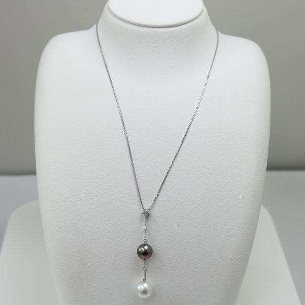 真珠 パール ネックレス 南洋白蝶真珠 黒蝶真珠 ツインカラー ロング デザイン 45cm K18WG ダイヤ カジュアル