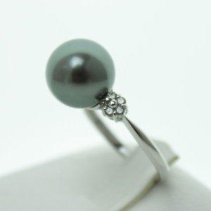 真珠 パール 指輪 リング タヒチ 黒蝶真珠 指輪10mm ダイヤ0.14ct プラチナリング 指輪 ブラック グリーン カラー デザイン 南洋真珠 黒真珠 ブラックパール