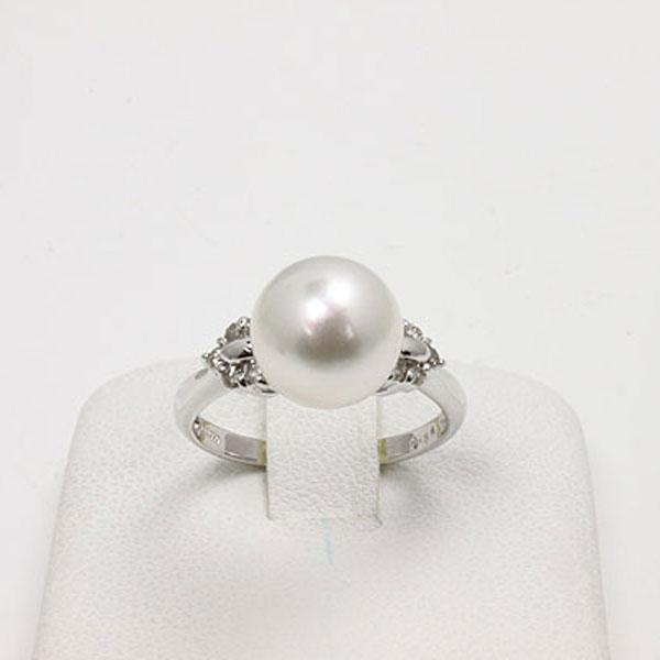 真珠 パール 指輪 リング あこや真珠 パール 指輪 リング 9mm-9.5mm アコヤ本真珠 ホワイトピンクカラー デザイン オーロラ花珠 鑑別書 真珠科学研究所 プラチナ ダイヤ