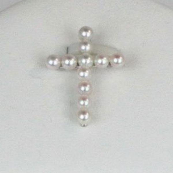真珠 パール ペンダント トップ アコヤ真珠 あこや真珠 3.5mm-4mm ベビーパール ペンダント 18金ホワイトゴールド 十字架 ホワイトピンクカラー パール 真珠 ムーンストーン