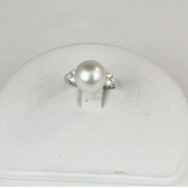 真珠 パール リング 指輪 南洋白蝶真珠 リング 指輪 11mm-12mm プラチナ ダイヤ ホワイトグリーン~ピンクカラー デザイン パール 真珠 ムーンストーン