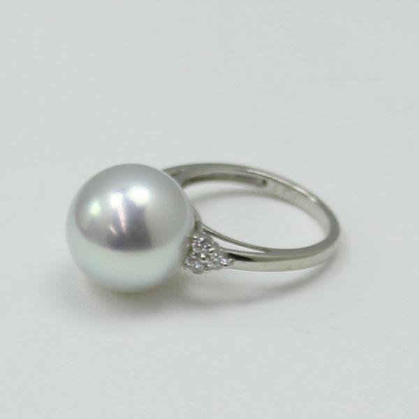 真珠 指輪 パール リング 南洋白蝶真珠 指輪 13mmm グレーカラー