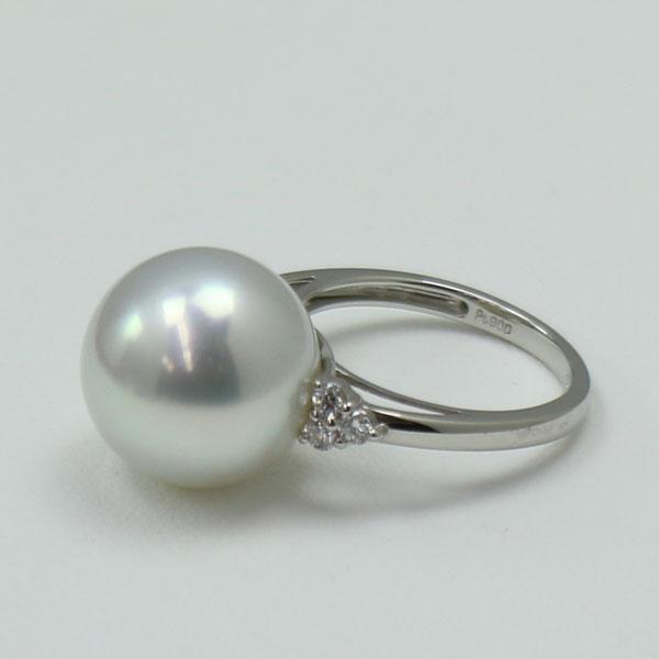 真珠 指輪 パール リング 南洋白蝶真珠 指輪 13mmmグレーカラー
