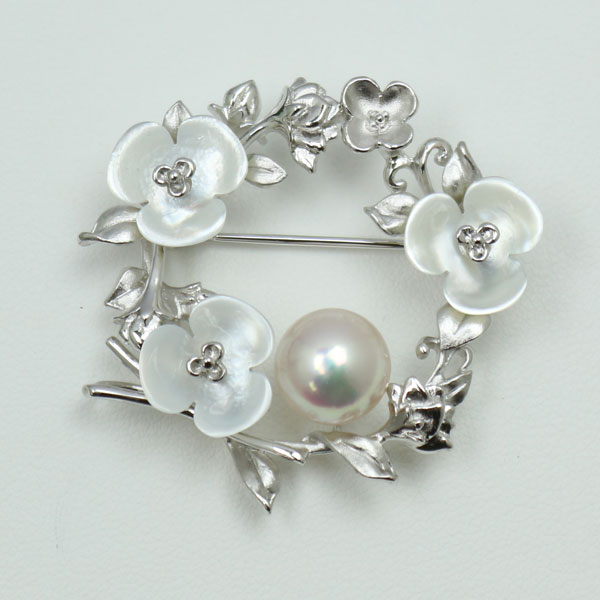 真珠 パール ブローチ あこや真珠 大珠 10mm アコヤ本真珠 ホワイトカラー 白蝶貝 卒業式 入学式