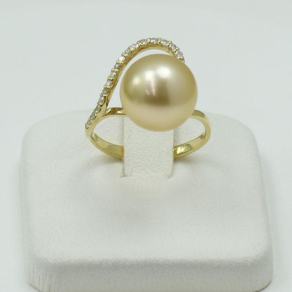 真珠 指輪 パール リング 南洋白蝶真珠 パールリング 指輪11mm-12mm ナチュラルゴールドカラー デザイン K18 ダイヤ