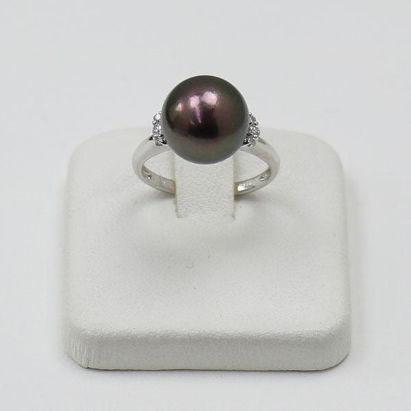 真珠 パール 指輪 リング 黒蝶真珠 パール リング 指輪 黒真珠 11mm-12mm ブラックカラー デザイン プラチナ ダイヤ 人気 安い